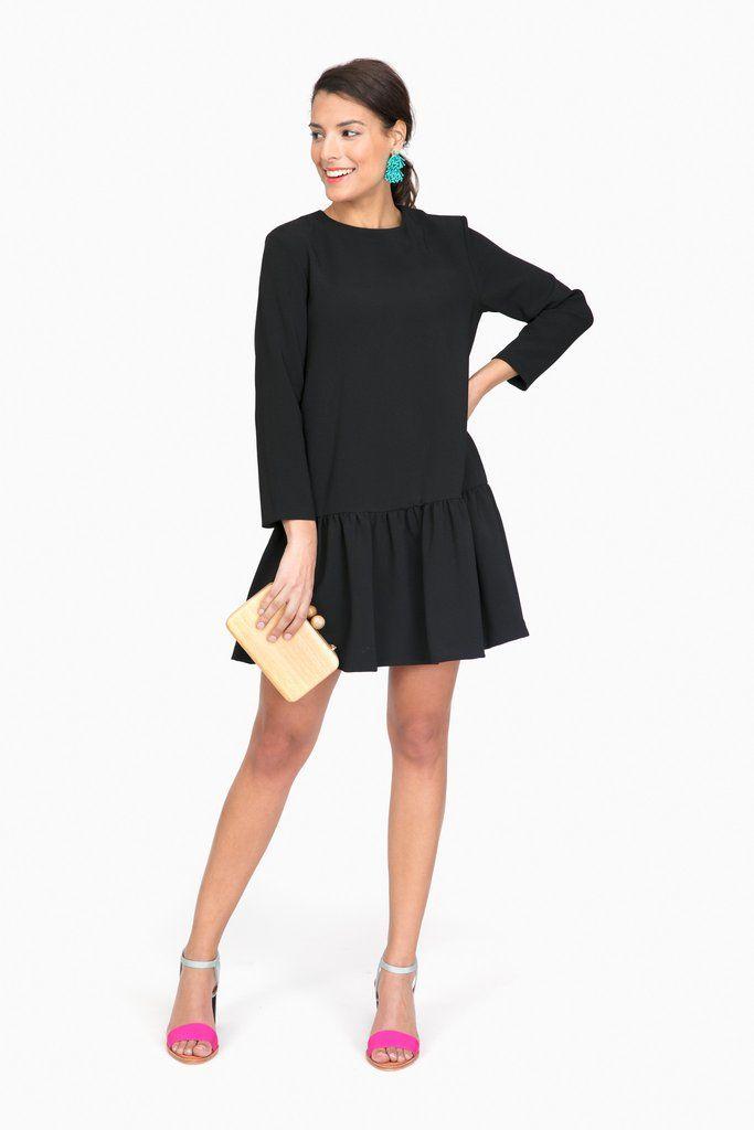 Black Sutton Peplum Dress