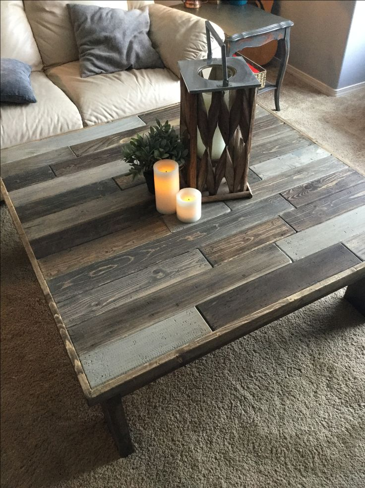 LOVE LOVE this makeover with stained and chalk painted boards! Those colors would be perfect in my living room w/ light gray walls and brown futon. MUST DO with an old coffee table! Paint legs/base white or off-white.