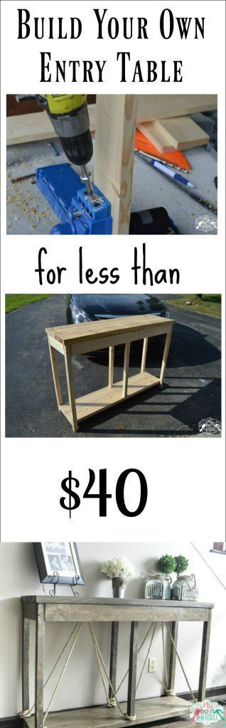 Build your own entry console table for less than $40 - free easy plans!