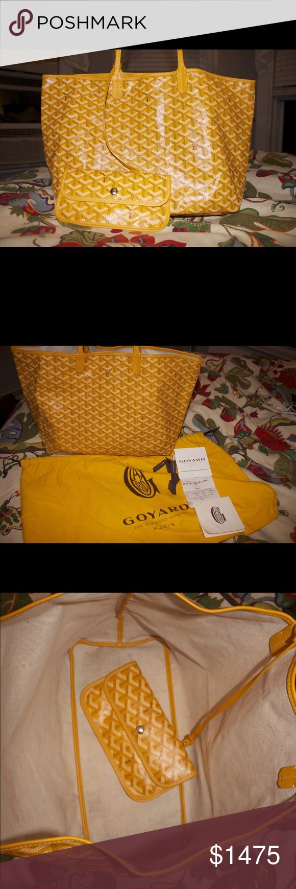 Yellow Goyard St. Louis PM Tote Beautiful yellow Goyard St. Louis PM Tote. Very lightly used with no scratches or blemishes on the exterior of the bag with minor wear and tear on the inside of the bag. Purchased at the Goyard boutique in New York City for $1698 (now sells for almost $1800) and can provide photos of the receipt. I am firm on the price because it is in such great condition. I love this bag and would love for it to go to a good home! Goyard Bags Totes