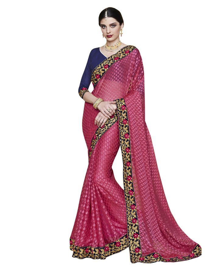 Buy Now Magenta Fancy Embroidery Brasso Party Wear Saree With Dhupian Blouse only at Lalgulal.com. Price :- 2,320/- inr. To Order :- http://goo.gl/pfM1kd. COD & Free Shipping Available only in India