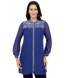 Buy Blue printed Rayon tunics tunic online
