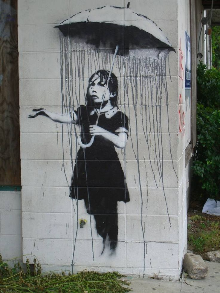BANKSY-rain umbrella: Street Artists, New Orleans, Umbrellas, Street Art Utopia, Urbanart, Streetartutopia, Urban Art, Banksy, Art Pieces