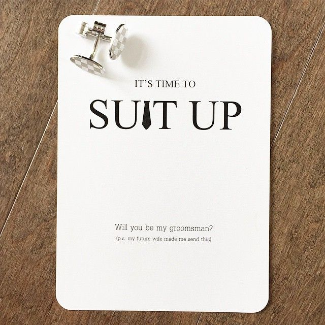 We designed these #suitup groomsmen proposal cards for a special lady & her…