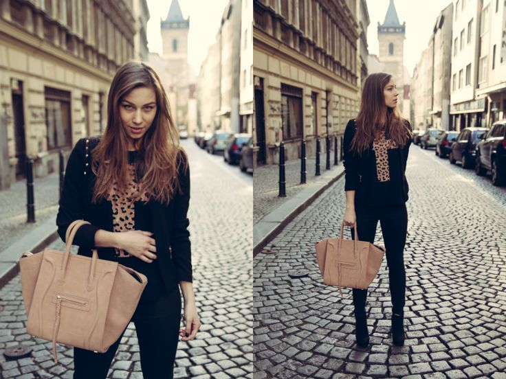 Prague Center, wearing leopard cross top, high heels and beige Céline handbag