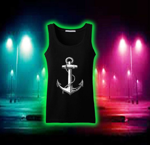 Jangkar Tank Top - Nautical atas Sailor Amerika Tank, T shirt, T-shirt Gadis, Tank wanita atas, Tank top Womens, Awesome Tank Top Wanita
