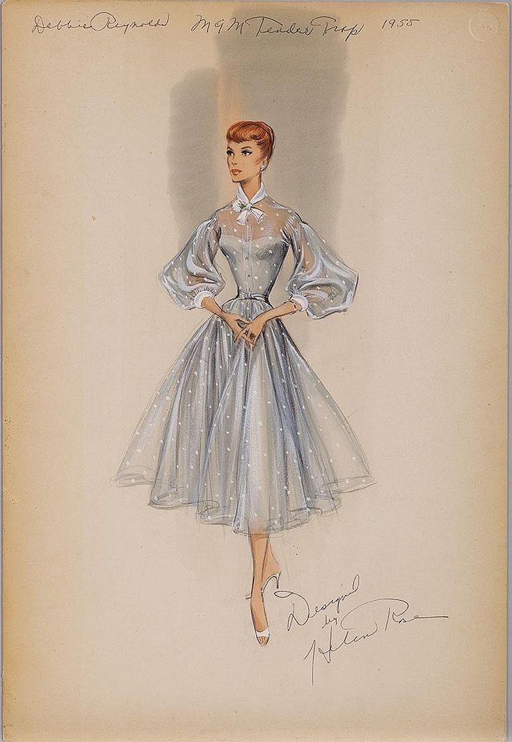 Helen Rose costume sketch of Debbie Reynolds for The Tender Trap.