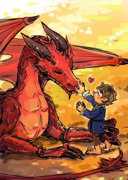 Smaug and Bilbo.