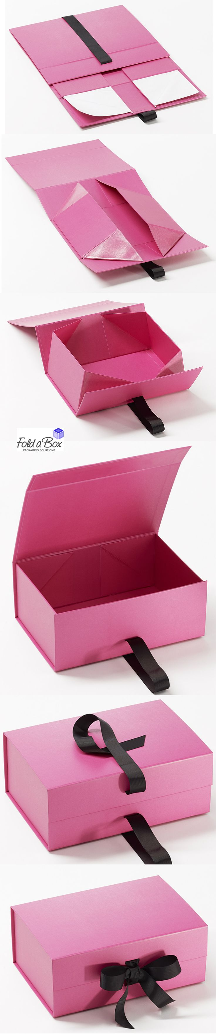 Our high quality gift boxes fold flat for minimal storage. The perfect gift wrapping solution. www.foldaboxusa.com