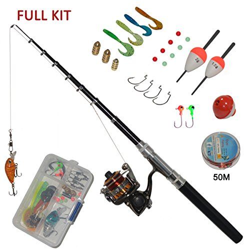 Carbon Fiber Pen Fishing Rods and Spinning Reel Combos Mini Pocket Size Pole 39 Inches and 55 inches with Hooks Lures Floats Line in Tackle Box Full Kit (1.4M Black Combo):   brNew Release on May,2016! /b br brThis is the BEST Pen Fishing Rod&Reel Combo on Amazon!/b br brCompact and Easy to Carry, the SYL Fishing Pen Rods and Reel Travel Kit Has Everything You Need brfor Casual Fishing While Camping and Hiking. The Kit include Pen Rod and Reel,Fishing Line, brFishing Lures, Fishing Flo...