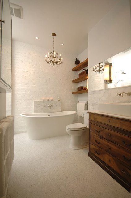 Romantic #white #bathroom with bathtub An interior design idea selected by www.instudio-design.com