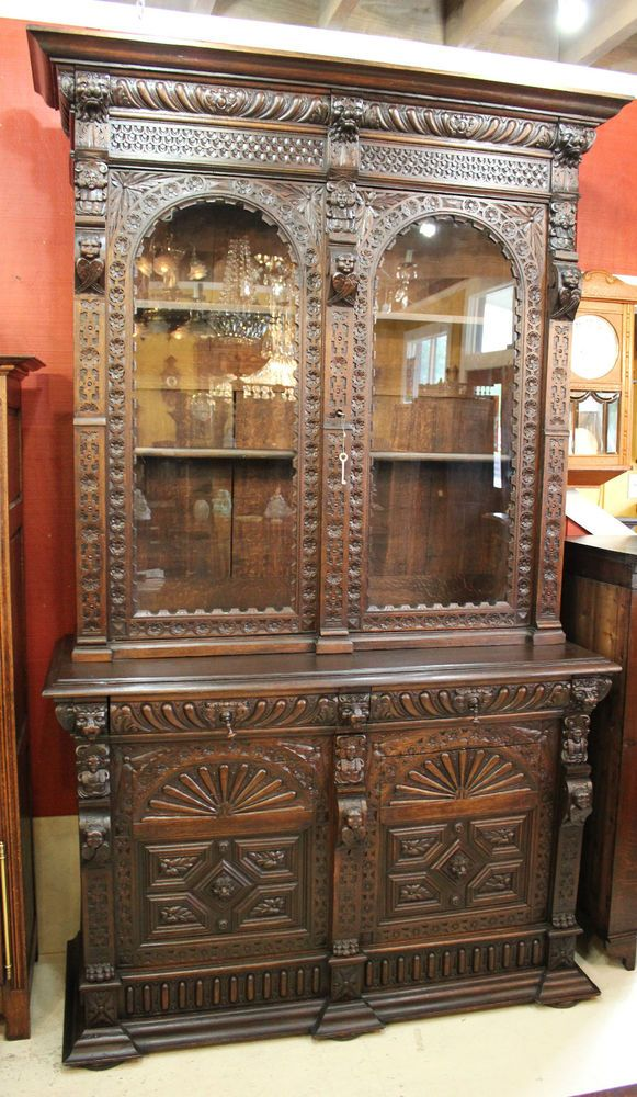French Antique Oak Gothic Buffet / Bookcase / Glass Door Display Cabinet # Antique #Vintage - 494 Best Vitrin Images On Pinterest Antique Furniture, Classic