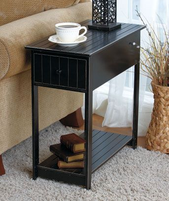 This Wooden Accent Table Is The Perfect Slim Size To Fit In A Small Room Spot Nbsp Pullout Drawer Provides C