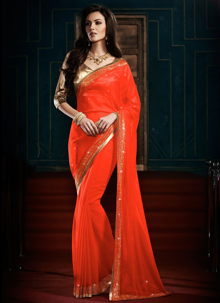 Balancing Georgette Gold and Orange Designer Saree  email : support@ethnicoutfits.com call - +918140714515 what's app - +918141377746