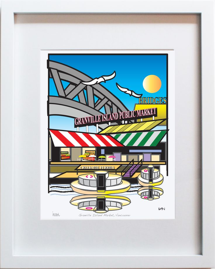 Granville Island Market in Vancouver BC - Blue Background. Also available in a smaller 8x10in frame and with a yellow background on our website.