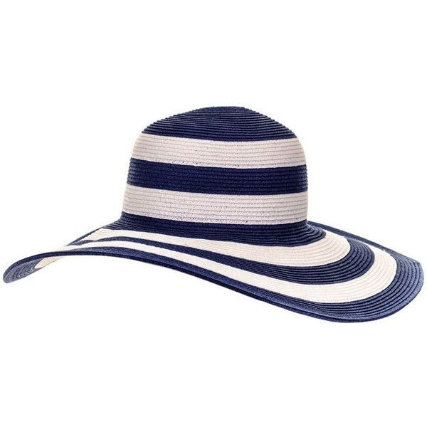 Navy and White Striped Wide Brimmed Sun Hat (€54) ❤ liked on Polyvore featuring accessories, hats, nautical hats, travel sun hat, band hats, travel hat и sun hat