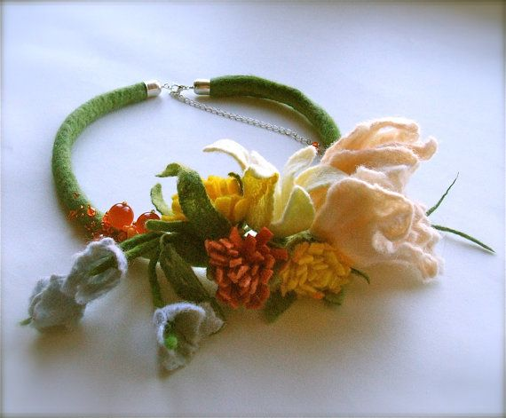 Felted necklace Flowers OOAK Handmade Floral by jurooma on Etsy, $38.00