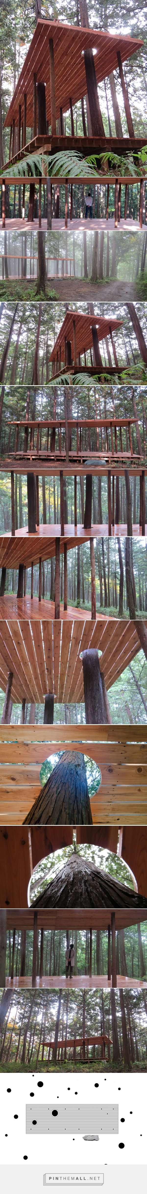 x-studio's wooden pavilion in japanese forest pays homage to black-ink paintings - created via https://pinthemall.net