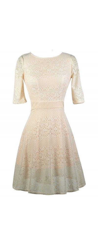 Lily Boutique Peach Parfait Beige Lace A-Line Dress, $34 Beige and Peach Lace Dress, Cute Beige Dress, Beige Lace A-Line Dress, Cute Lace Dress www.lilyboutique.com