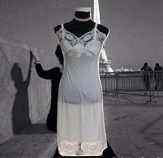 54aecc468c08 Vintage Full Slip Caresse Lingerie Ladies White Nylon Slip with Embroidery  60's Underwear Slip Dress