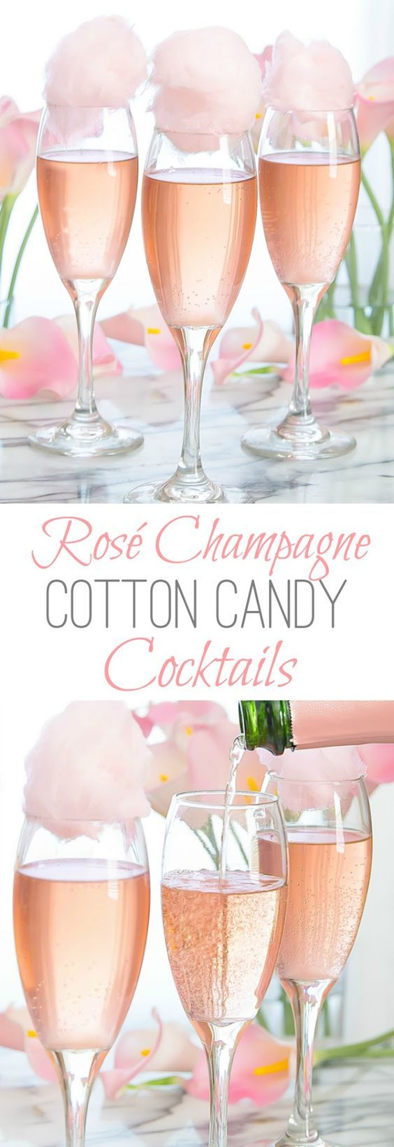 Love having unique party drinks at bridal showers. Rosé Champagne Cotton Candy Cocktails. Try a raspberry soda in place of champagne for the designated driver!