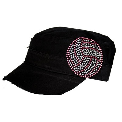 Black Cadet Cap With Rhinestones Crystal Volleyball Military Style Cadet Cap With Design Crystal Rhineston Rhinestone Designs Hats Military Fashion