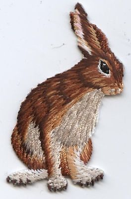 Iron-On Applique Embroidered Patch Natural Brown and White Jack Rabbit