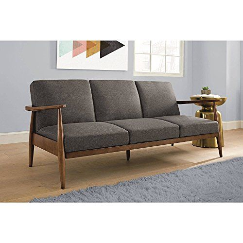 Flexsteel Sofa Flynn Mid Century Futon Sofa Sleeper Grey Generic https smile amazon