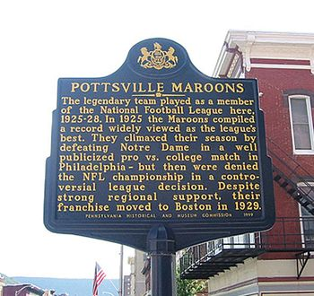 """#TriviaTuesday Sportswriters & fans still refer to this match up between the Pottsville Maroons and _____ ____ as """"The Greatest Football Game Ever Seen.""""   Name the team who played the Pottsville Maroons in December 1925 & lost.   #Football , #game , #Trivia , #NFL https://www.facebook.com/PATrailsofHistory/posts/10152624190072669"""