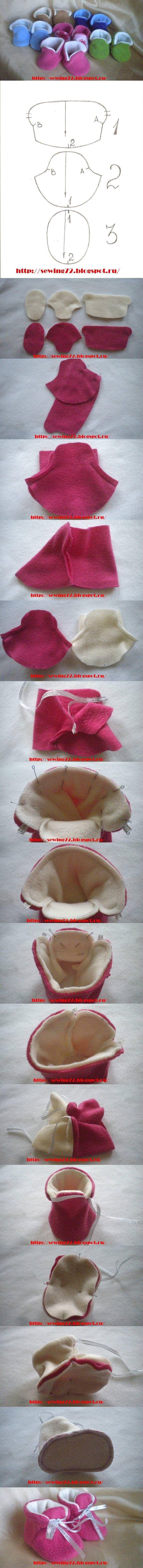 Para pés gordinhos DIY Fleece Booties
