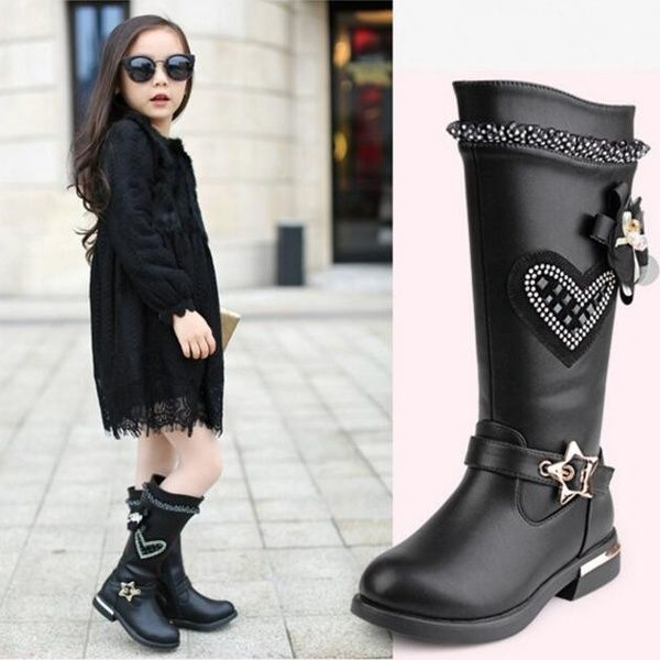 Fashion Girls Winter Black Long Boots Side Zipper Kids Over Knee High Flat Boots
