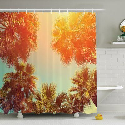 """Ambesonne Palm Tree Trees Sunlights Tranquility in Tropical Nature Landscape at Summer Theme Shower Curtain Set Size: 84"""" H x 69"""" W x 1"""" D"""