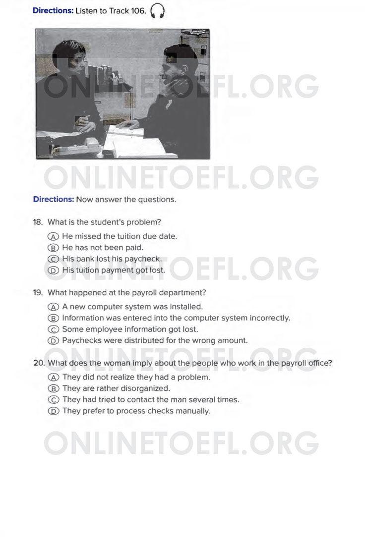 Aşağıda TOEFL sınavı online hazırlık kursu uzmanı Dr. Hikmet Şahiner ile TOEFL hazırlık kursu online deneme listening test soruları test 4 listening part 2 soruları bulunmaktadır.