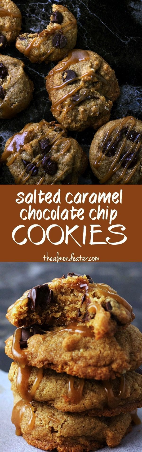 Soft, chewy gluten free chocolate chip cookies with a salted caramel drizzle #glutenfree