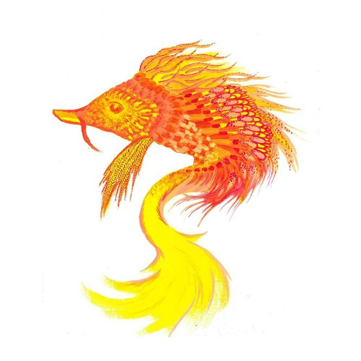 Phoenix Fish Acrylic on gesso by Ashya Lane-Spollen