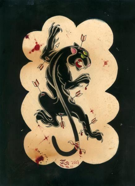 Panther by Joshua Gargalione Courage Tattoo Artwork Canvas Art Print