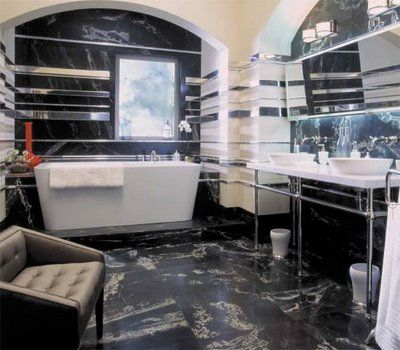 Modern bathroom. Idk about all those mirrors though.