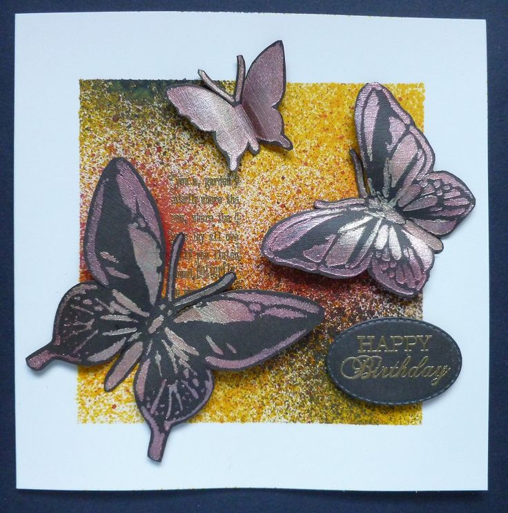 'Happy Birthday Butterflies' card.  -Imagination Craft's -  Mixed Media Spray inks - Sunshine, Red & Dark brown.  Magi-bond glue.  Script stamp from Embossing stamp set.  Pink sorbet & Sand Starlight paints.  Large Art Butterfly stencil.  Versamark pad.  Gold embossing powder.  March 2017.  Designed by Jennifer Johnston.