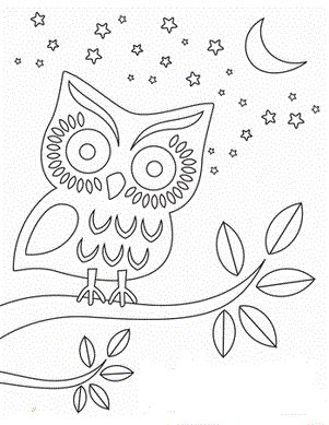 worksheets nighttime owl coloring page for night animal study