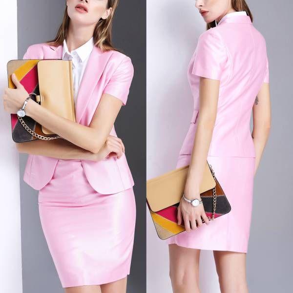人気レディースファッショントレンドデザインエレガントビジネスオフィスOL上品職場女性社員魅力スリム半袖フォーマルスカートスーツ S53PK_画像3