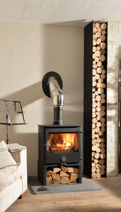Garden wood burner  Chilli Penguin Stoves, top quality contemporary stoves  with character. - Log Storage