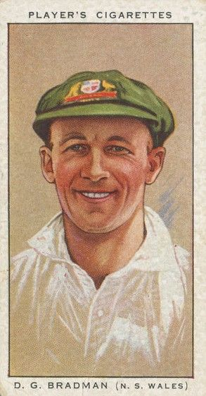 Cigarette card distributed during the Australian cricket team's tour of England, 1934.