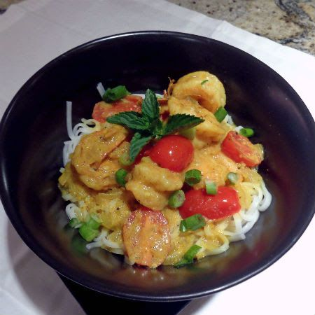 One Perfect Bite: Rice Noodles with Coconut Curried Shrimp