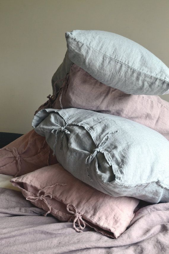 Linen bedding | Etsy  Pastel tie linen cushions, home accessory inspiration