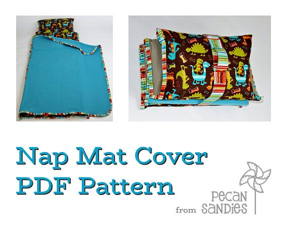 This instantly downloadable PDF tutorial will show you how to create a beautiful and practical nap mat cover. The cover itself is machine washable and features an attached pillowcase, blanket, and strap/handle. The attached pillowcase can be flipped out beyond the mat, providing several