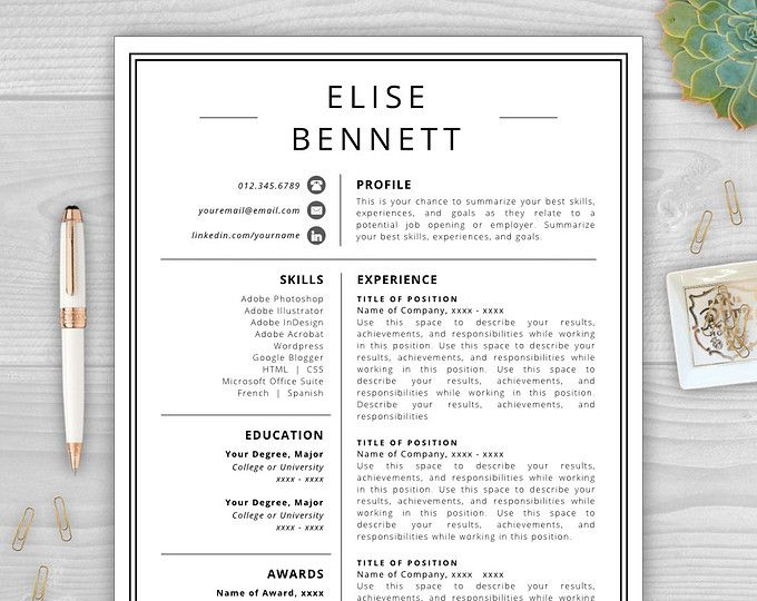 browse unique items from resumetemplatestudio on etsy a global marketplace of handmade vintage and cv templateresume - Best Template For Resume