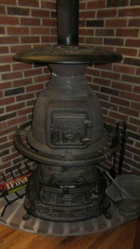 The Union Stove Works Antique Cast Iron Potbelly Stove No. 24