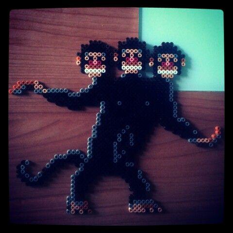 Mono de 3 cabezas de Hama Bead del juego mítico de Monkey Island!