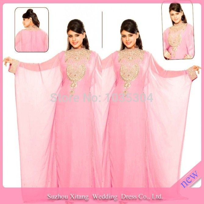 M0705 Pink Chiffon Long Sleeve Gold Beads Kaftan Abayas arabic dubai Arabic muslim evening dress 2014