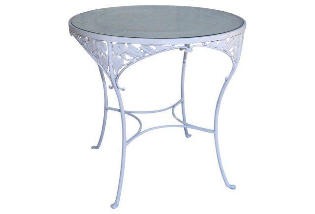 Midcentury Iron & Glass Café Table